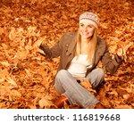 photo of cute blonde girl throw ... | Shutterstock . vector #116819668