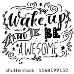 wake up and be awesome. hand... | Shutterstock .eps vector #1168199152
