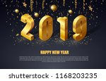 happy new year 2019 gold letters | Shutterstock .eps vector #1168203235