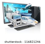 A desktop computer with truck, train, plane, and ship coming out of screen. Logistics transport or delivery concept. - stock vector
