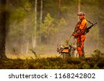 hunter and hunting dogs chasing ... | Shutterstock . vector #1168242802