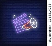 clapper board and megaphone... | Shutterstock .eps vector #1168314298