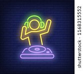 disk jokey with dj mixer neon... | Shutterstock .eps vector #1168315552