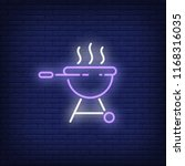 barbeque grill with smoke neon... | Shutterstock .eps vector #1168316035