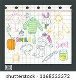 doodle set various vector... | Shutterstock .eps vector #1168333372