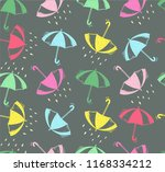 doodle umbrella and cute pattern | Shutterstock .eps vector #1168334212