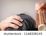 hair fall and lost alopecia... | Shutterstock . vector #1168338145