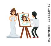 painter standing at easel and... | Shutterstock . vector #1168339462