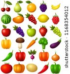 set of fruits and vegetables... | Shutterstock .eps vector #1168354012