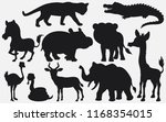 set of black silhouettes wild... | Shutterstock .eps vector #1168354015