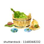 watercolor still life with bath ... | Shutterstock . vector #1168368232