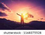 copy space of man rise hand up... | Shutterstock . vector #1168375528
