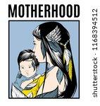 motherhood. vector poster with... | Shutterstock .eps vector #1168394512
