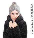 beautiful woman dressed in fur... | Shutterstock . vector #116840248