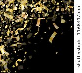 gold shining confetti flying on ... | Shutterstock .eps vector #1168417555