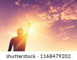 copy space of man hand raising... | Shutterstock . vector #1168479202