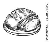 sliced bread engraving raster...   Shutterstock . vector #1168504192