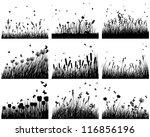 Set of nine meadow background. Vector illustration.