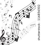 musical note staff with lines.... | Shutterstock .eps vector #116856502