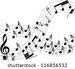 musical note staff with lines.... | Shutterstock .eps vector #116856532