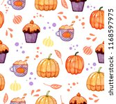 handdrawn seamless pattern with ... | Shutterstock . vector #1168597975