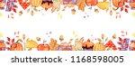 handdrawn autumn background.... | Shutterstock . vector #1168598005