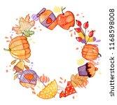 handdrawn autumn background.... | Shutterstock . vector #1168598008