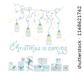 cute design of christmas cards  ... | Shutterstock .eps vector #1168621762