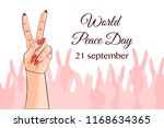hands with two fingers up in... | Shutterstock .eps vector #1168634365