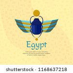 egyptian bug beetle with wings. ... | Shutterstock .eps vector #1168637218