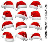 set of red santa claus hats... | Shutterstock . vector #116865028