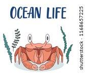 ocean crab cartoon illustration ... | Shutterstock .eps vector #1168657225
