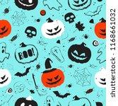 halloween light blue seamless... | Shutterstock .eps vector #1168661032