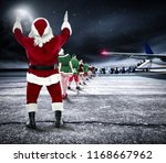 santa claus and airport... | Shutterstock . vector #1168667962