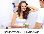 young happy couple at hone... | Shutterstock . vector #116867635