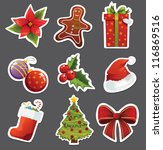 christmas set of stickers | Shutterstock .eps vector #116869516