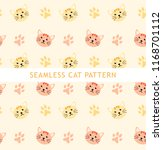 seamless cat pattern  cute... | Shutterstock .eps vector #1168701112