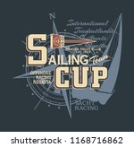 classic vintage yacht  racing...   Shutterstock .eps vector #1168716862