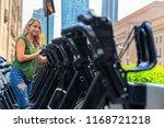 a beautiful blonde model enjoys ... | Shutterstock . vector #1168721218
