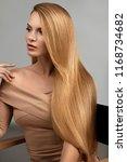 long blonde hair. beautiful...   Shutterstock . vector #1168734682