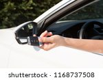 woman's hand presses button on... | Shutterstock . vector #1168737508