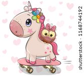 Stock vector cute cartoon unicorn with owl on a skateboard 1168744192