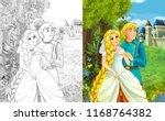 cartoon scene with happy young... | Shutterstock . vector #1168764382