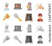 a pizza cutter  a slice  a menu ... | Shutterstock . vector #1168769695