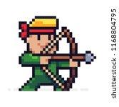 pixel art male archer character ... | Shutterstock .eps vector #1168804795