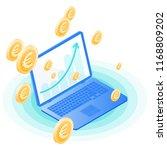 the laptop  increasing arrow on ... | Shutterstock .eps vector #1168809202