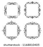 vintage vector swirl frame set | Shutterstock .eps vector #1168810405