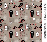 halloween seamless pattern with ... | Shutterstock .eps vector #1168818172