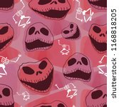 vector cute skull with horror... | Shutterstock .eps vector #1168818205