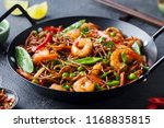 stir fry noodles with...   Shutterstock . vector #1168835815